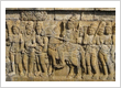 Sidharta was going out of the palace. A panel of Laitavistara reliefs at Borobudur temple