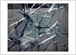 Broken glass of a sliding door