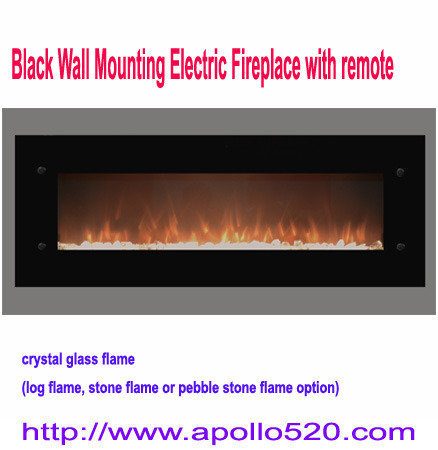 Offer: Black Wall Mount Electric Fireplace with logs inserts