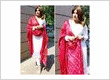 New red and white cotton straight salwar suit