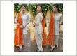 White cotton patiala salwar suit with orange dupatta