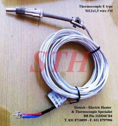 Jual Thermocouple Type E M12 Kabel 3M - Sintech