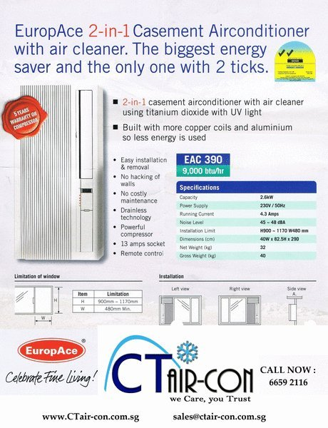 EUROPACE 2 IN 1 CASEMENT AIRCON