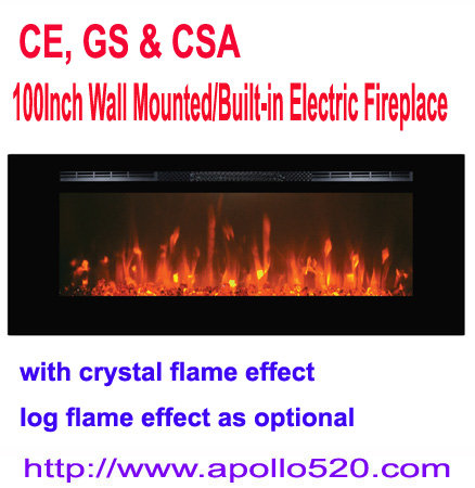 Offer 100-Inch Electric Fireplace Black with crystal flame