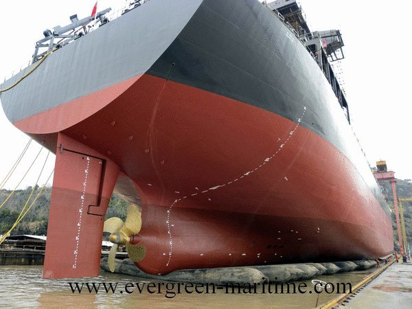 Evergreen Maritime breaks a world record of airbag ship launching