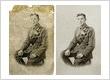 Restored very damaged photo of World War 1 Soldier
