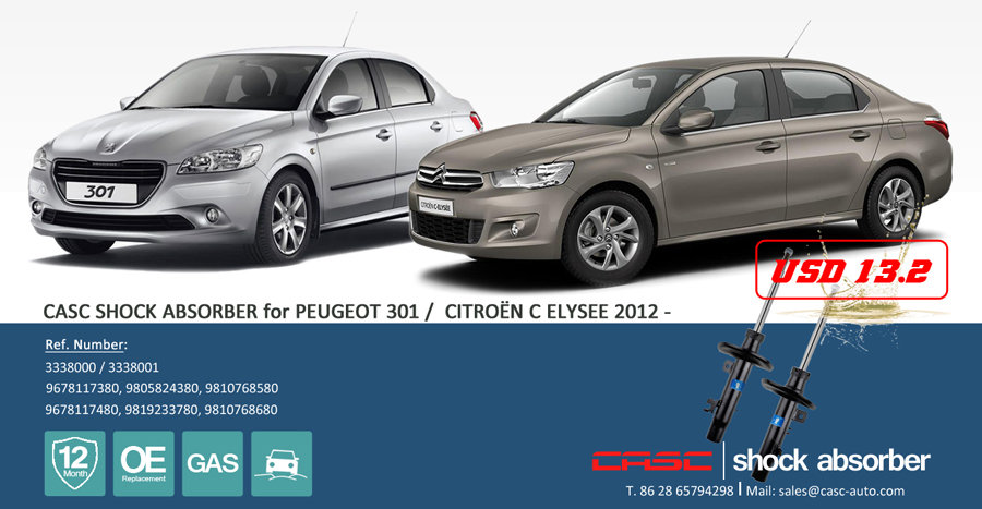 CASC shock absorber for Citroen C-Elysee / Peugeot 301.