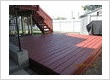 Redwood colored deck, Flood stain